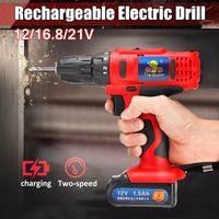 21V 16.8V 12V LED Cordless Electric Drill Screwdriver Driver With 1 or 2 Li-ion Battery