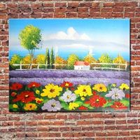Flowers Landscape Oil Painting Hand Painted On Canvas