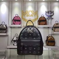 MCM Small Stark M Lion Backpack In Black