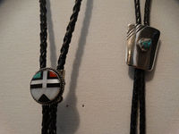 Navajo Zuni Sterling Silver Turquoise, Coral, Onyx & Mother of Pearl Lot Of 2 Bolo Tie. $189.00