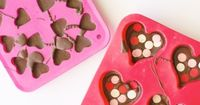 Looking for sweet (simple) valentines day treats to make? These chocolate hearts only took 15 minutes from start to finish! All you will need is a heart mold, m