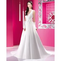 Simple A-line Spaghetti Straps V-neck Ruching Hand Made Flowers Sweep/Brush Train Chiffon Wedding Dresses - Dressesular.com