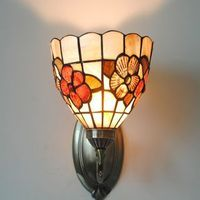 Antique Floral Patterned Wall Light in Tiffany Style