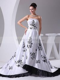 TRIMMED STRAPLESS SATIN WEDDING GOWN WITH EMBROIDERED PATTERN