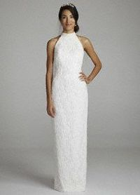 You will'look flawless on your special day in this elegant wedding dress! Halter'bodice with a slim silhouette adds feminine appeal'and is ultra-chic.' All over lace'fabric adds texture and dimension. Detachable chiffon sweep train at ...