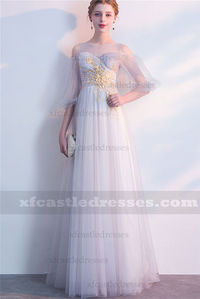 2018 Lace Long Prom Dresses with Sleeves Silver Gray