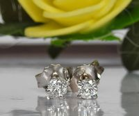 14K Gold Studs, Girl Earrings, Small Stud Earrings, White Sapphire Studs, Christmas Gift $137.35
