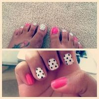 nail art... This is cute.. I'd do maybe only the big toe with polka dots though..