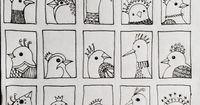 sketchbook, pattern, line, repetition, Bird 218 - fifth and final row of tiny doodle birds added .... By JG