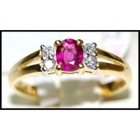 Natural Diamond Ruby 18K Yellow Gold Solitaire Ring [R0122]