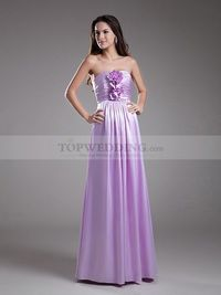 STRAPLESS A LINE ELASTIC SATIN BRIDESMAID DRESS WITH FLORAL RUCHED BODICE