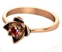 Rose Gold Ruby Flower Ring Lotus Ring Art Nouveau unique Engagement ring Flower ring Red Floral ring 18K Yellow gold Engagement gift $869.00