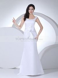 SCOOP NECKLINED MERMAID SATIN WEDDING DRESS WITH RIBBON SASH
