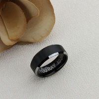 Mens Black Flat Tungsten Ring, 8mm Tungsten Wedding Band, Tungsten Black Mens Promise Ring, Black Tungsten Engagement Ring, Couple Gift $78.00
