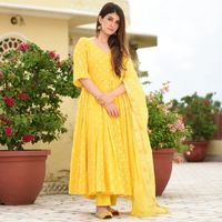 Indian Beautiful ellow Bhandhej suit set Further Ethnic Style Dress Women's and Girls Rayon Long Gown Suit $35.90