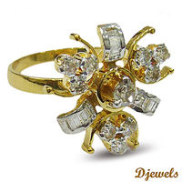 """Gold Diamond Ring In 14K H/M Yellow Gold With Studded Diamond By Djewels Greetings from Djewels �€"""" India's one the top most Diamond Jewellery Manufacturer , wholesaler since 1985. We can customize any kind of Real Diamond Jewellery Pin..."""