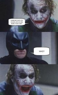 Batman tries to get serious in this 4-panel comic based on The Dark Knight, but The Joker ain't having that. Learn more at Know Your Meme.