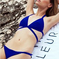 Must-have Vogue Sexy Open Back Lace Up One Color Underwear Swimsuit Bikini Bra - Bonny YZOZO Boutique Store