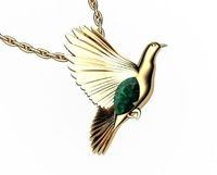 Bird Pendant Peace Pendant Gold Green Marquise Peace Dove Emerald Pendant $1370.00
