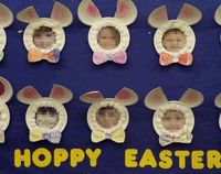 adorable Easter bunny craft with kids faces. So easy to prep, just made out of paper plates.. great Spring bulletin board idea.. Hoppy Easter! :)