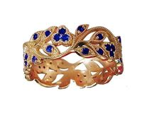 18K Rose gold Leaves Band with 42 Sapphires Filigree Ring Milgrain Twig Ring $1170.20