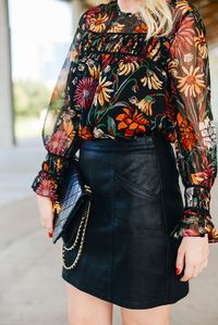 When I first spotted this gorgeous fall floral blouse, I was dying to take it with me to fashion week. I checked back the next week to order it, only to find it