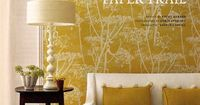 Renting? Why not frame a panel or two in a really beautiful wallpaper. It's cost effective and makes the same bold statement without the permanence. Cole & Son - Cow Parsley is shown here, we think the yellow really pops. available at walnut wallp...