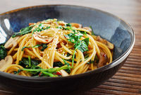 Spicy Asian Pasta with Kale and Mushrooms