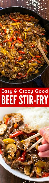 MUST TRY quick beef stir-fry recipe loaded with mushrooms, bell peppers and�€�