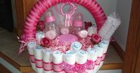 Diaper Basket: If building a cake isn't your thing, take some inspiration from this diaper basket ($45). The actual basket is made from rolled-up diapers and filled with bottles, brushes, and more.