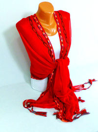 Red fringed Scarf, Shawl, Red Fringed Shawl, Mothers day scarf, Lightweight Scarf, Spring fashion accessory, Gifts For Her, Mothers Day Gift $22.50