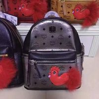 MCM Small Stark Rooster Backpack In Silver