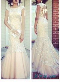 2016 champagne color open back lace mermaid prom dress