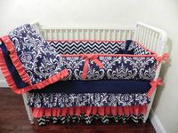 Baby Bedding Crib Set Danielle - Navy Damask Chevron Coral : Just Baby Designs, Custom Baby Bedding Custom Crib Bedding Custom Nursery Bedding