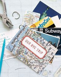 If you hate the idea of grappling with vacation memorabilia after a trip, create a keepsake as you go. Pack a hole punch and a loose-leaf ring to string togethe