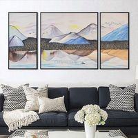 Mountain art stone painting Abstract rock Painting on canvas 3 piece wall art textured Original art large wall pictures cuadros abstractos $799.00
