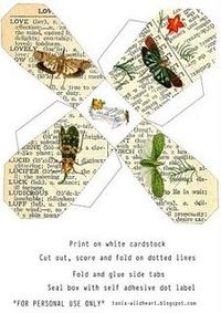 TO DO: Butterfly take-out box for party favor box...print, cut, fold...cute butterfly theme