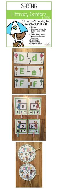 Spring Letter Centers for Preschool, PreK, Kindergarten & Homeschooling! 4 fun and engaging Spring-themed literacy letter centers to keep your class busy learning all Spring! Puzzles, Match & Clip, Letter Wheels! All centers are developmentally ap...