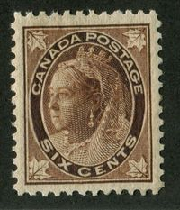 A Beautiful Mint Six Cent Queen Victoria Stamp of Canada From 1897.