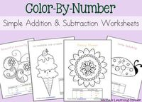 Welcome back to Day #2 of this 5-Day series of Color-By-Number Worksheets! Today's packet focuses on simple addition and subtraction, which is usually geared to