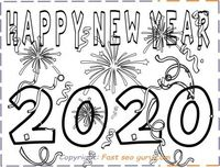 Printable happy new year 2020 coloring pages for kids.free online print out happy new year 2020 coloring pages for kids.new year activities worksheets clipart for kids.new year 2020 clipart.fargelegge tegninger,väritys sivut,farvestoffer side godt nyttå
