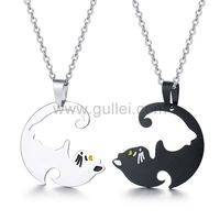 Gullei.com Best Friends Bestie Engraved Necklaces Gift for 2 