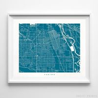 Yakima, Washington Street Map Horizontal Print by Inkist Prints - Available at https://www.inkistprints.com