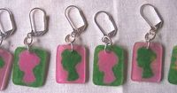 shrinky dink jane austen stitch markers and in my sorority colors...love