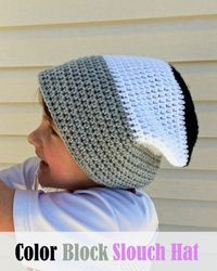 Color Block Slouch Hat - free crochet pattern to make a soft, flexible slouchy hat!