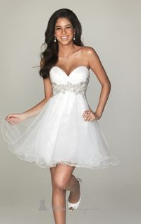 White Strapless Tulle Dress by NightMoves by Allure