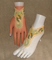 Free Adult Barefoot Sandal Patterns | Crochet Barefoot Sandals / Slave Bracelets / Lemon Lime Heavenly ...