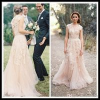 Wholesale Vintage 2014 Lace Wedding Dresses Champagne Sweetheart Ruffles Bridal Gown Cap Sleeve Deep V neck Layered Reem Acra Lace Bridal Gowns, Free shipping, $123.69/Piece | DHgate Mobile