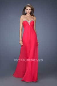La Femme 19566 Hot Fuchsia Strapless Evening Gown with Liquid Lines