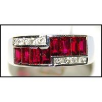 For Men Ruby Ring and Diamond Unique 18K White Gold [RQ0027]